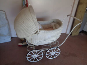 ANTIQUE WHITE WICKER BABY BUGGY