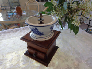 Beautiful, porcelain and wood, coffe or spice grinder.
