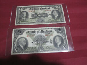 1935 Bank Of Montreal Canada Chartered Banknotes