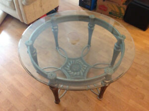 Round glass top coffee table - pewter frame - table basse
