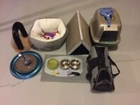 Cat carrier, litter box, toys, dishes and Furminator brush