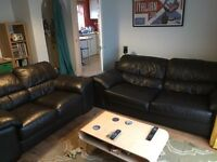 2 x Black Leather Sofas
