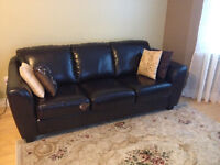 Brown Couche and Accent chair