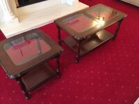 Coffee table , lamp table, brass 5 light fitting , 2 double wall lights - brass, gold mirror