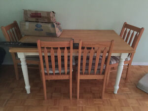 Solid wood dining table 4 chairs