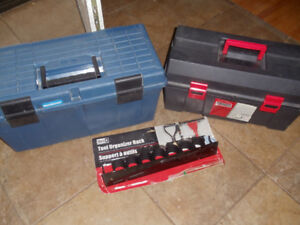two toolboxes with tool holder