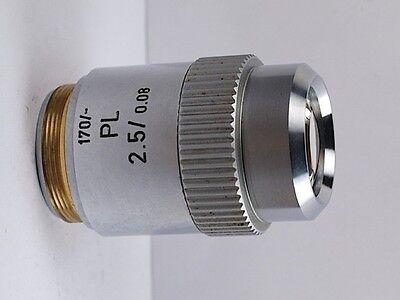 Leitz Pl 2.5x .08 170mm Tl Microscope Objective