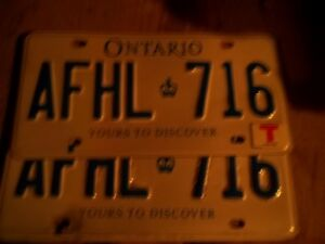 """Ontario License Plates - PAIR - #AFHL 716 - with   """"T"""" Tag."""