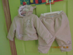 NEW soft cotton girl's warm pants and hooded coat combo