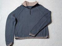 Mans hand knitted jumper/sweater/contrast collar, half zip closure: Petrol Blue/Grey 100cm Chest