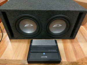 """Two 10"""" Alpine Type-E 750w Subs in vented carpeted box and Amp"""
