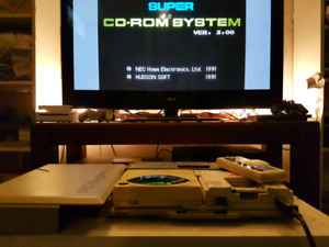 PC Engine CD ROM Unit Ram Card and 1 Controller