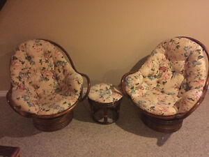 Rattan chairs and ottoman !!