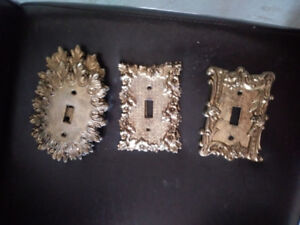 EXCELLENT CONDITION BRASS ELECTRICAL SWITCH FACE PLATES