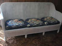 Antique White Wicker Settee