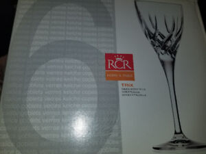 Made in Italy. RCR Home and Table TRIX crystal glasses. Bnib