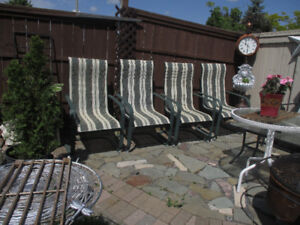 4 patio chairs striped green & white for  $15.each