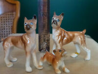 Vintage set of 3 miniature french boxers dogs
