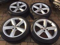 "Audi A5 18"" GENUINE alloy wheels rims and tyres 8.5x18 ET29 5x112"