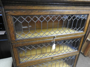 antique barrister bookcase, 3 glass levels, all lead, restored