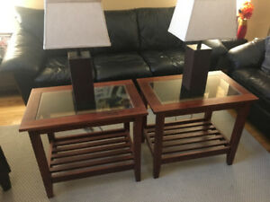 Ikea Coffee Table, end tables and 2 lamps