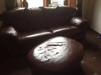 Leather sofa with foot stool