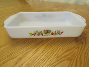 Vintage Fire King Milk Glass Chanticleer Rooster Baking Dish