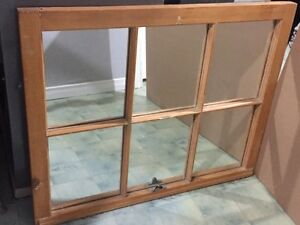 Antique ~ Rustic Real Wood Framed Window now Mirror for Sale!