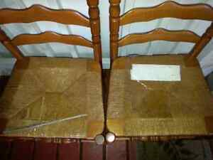 2 VINTAGE SOLID WOOD HIGH BACK CHAIRS $10.00 FOR BOTH Windsor Region Ontario image 2