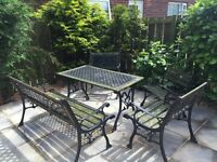 REDUCED cast iron table, bench and 3 chairs