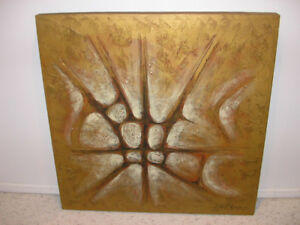 Abstract Painting in gold and signed by the Artist Mark Roberts