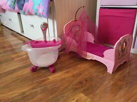 Baby Born Interactive Bath and Interactive Princess Bed