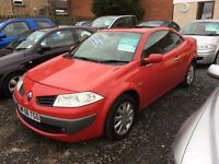Renault Megane 1.9 diesel convertible 56 reg low mileage leather interior finance for £25 a week