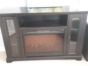 Espresso Electric Fireplace TV Stand Entertainment Console