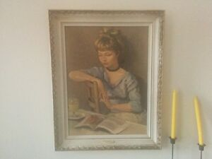 Portrait of Claudine Print in Marcel Dyf Antique Frame