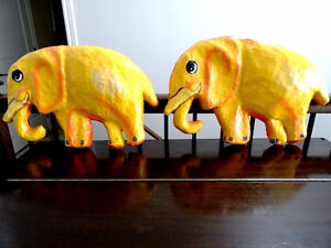 YELLOW ELEPHANTS ANYONE papier-mâché HAITI fabulous BABY'S ROOM Cambridge Kitchener Area image 7