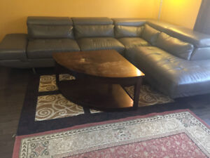 Bonded Leather Sectional/Sofa with centre Table