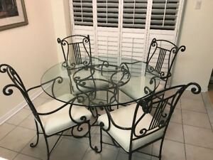 BOMBAY CO. IRON/GLASS TABLE & 4 CHAIRS! MUST GO!