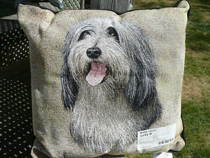 Bearded Collie pillow, Beardie pillo, Robert J. May Tapestry