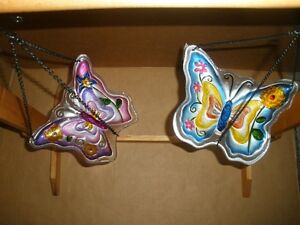 Two Painted Glass Butterfly Hanging Birdfeeders London Ontario image 1