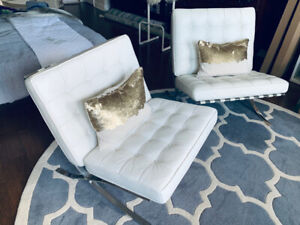 Two BARCELONA Chairs / White Italian Leather