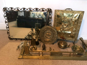 Collectible Brass Metalware & Fireplace Accessories