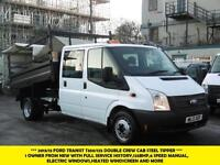 2013 FORD TRANSIT 350/125 DOUBLE CAB STEEL TIPPER *** 1 OWNER WITH FULL SERVICE