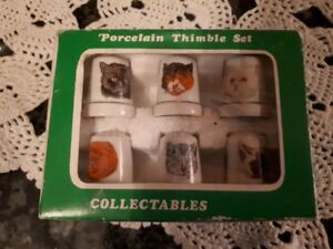 Vintage porcelain thimbles - set of 6 with cats