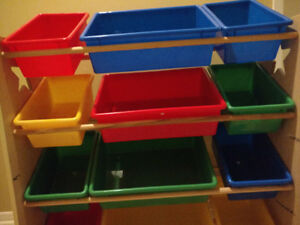 Kids Storage Rack with primary colour bins