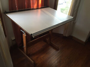 DRAFTING TABLE - used but in good condition, wooden legs