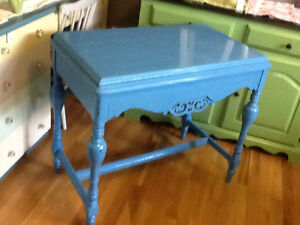 Blue antique tv, hall table