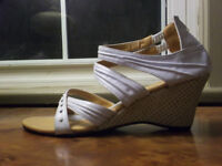Sexy strappy sandal shoes heels 7.5 white with crystals like new