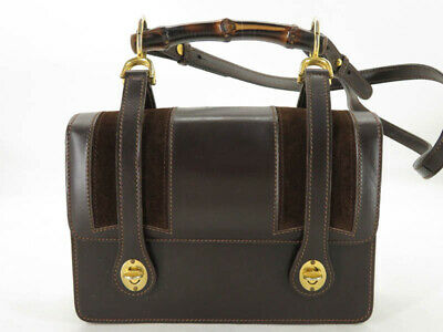 GUCCI VINTAGE BAMBOO BROWN LEATHER DOUBLE TURN LOCK 2WAY SHOULDER HAND BAG EY306