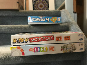 3 Board Games Excellent Condition, Monopoly,Life,Connect 4